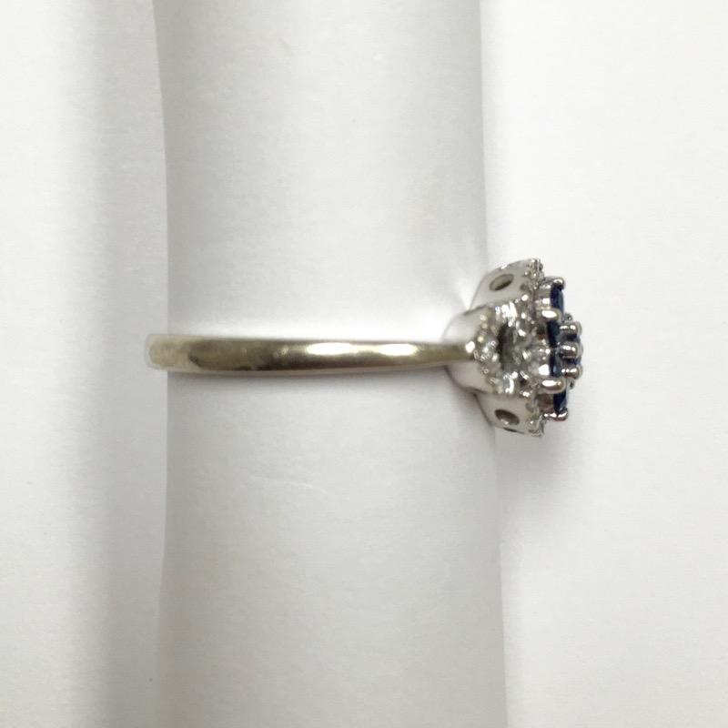 Synthetic Sapphire Lady's Stone & Diamond Ring 20 Diamonds .100 Carat T.W.