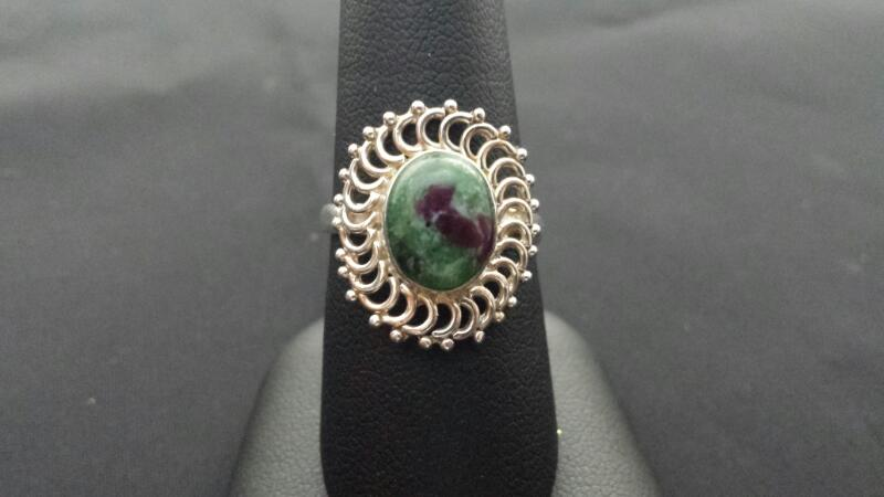 Bezel Lady's Silver & Stone Ring 925 Silver
