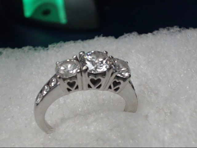 Lady's Diamond Cluster Ring 4 Diamonds 1.21 Carat T.W. 14K White Gold 2.52dwt