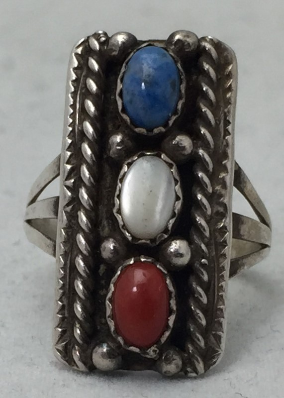 Sterling Silver Mother of Pearl, Turquoise, Coral Ring Size 6