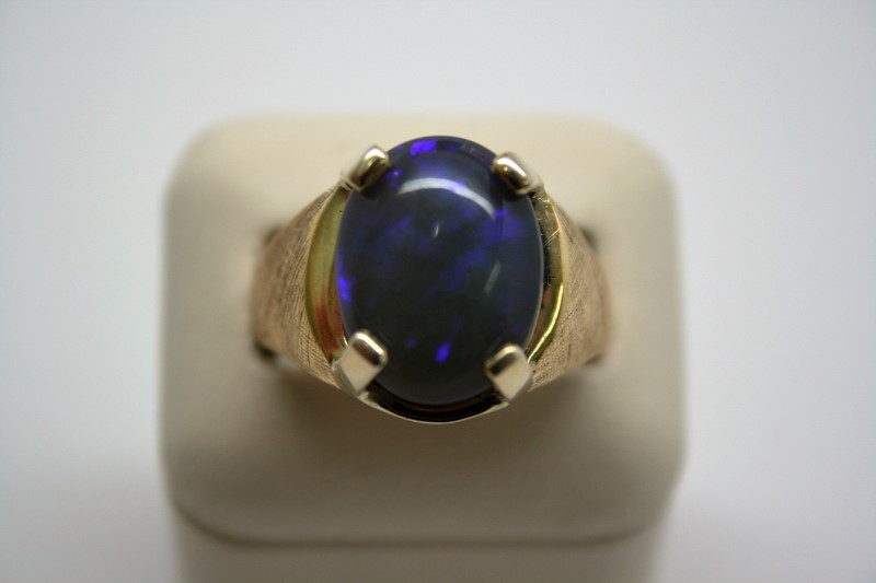 GENT'S OPAL RING 14K YELLOW GOLD