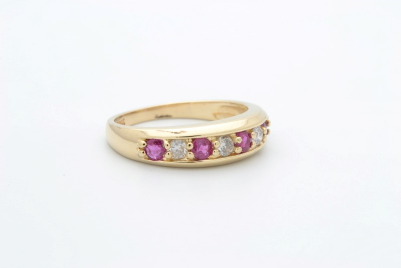 ESTATE DIAMOND RUBY RED RING BAND SOLID 14K GOLD ANNIVERSARY SZ 5.5