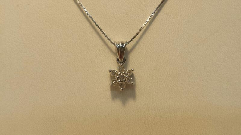 """14k White Gold Necklace & Pendant with 7 Diamonds - 1.3dwt - Length 18"""""""