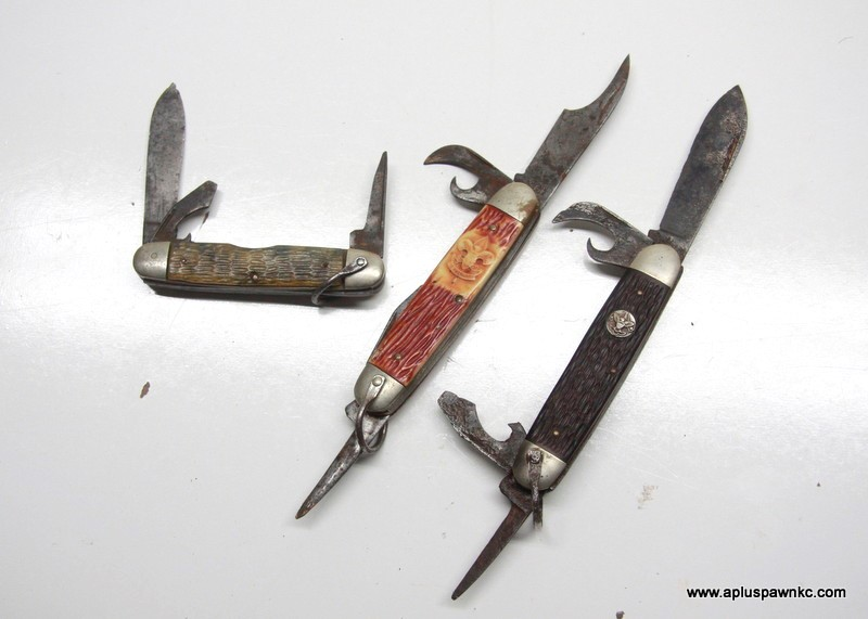 VINTAGE BSA BOY SCOUTS POCKET KNIVES (QTY 3)