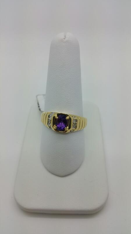 PURPLE STONE(S) Synthetic Amethyst Gent's Stone & Diamond Ring