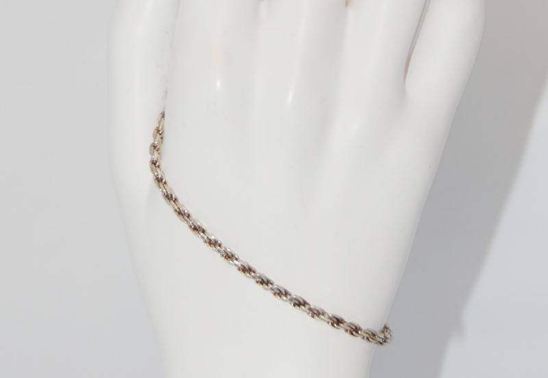 "7"" Sterling Silver Rope Link Chain Bracelet"