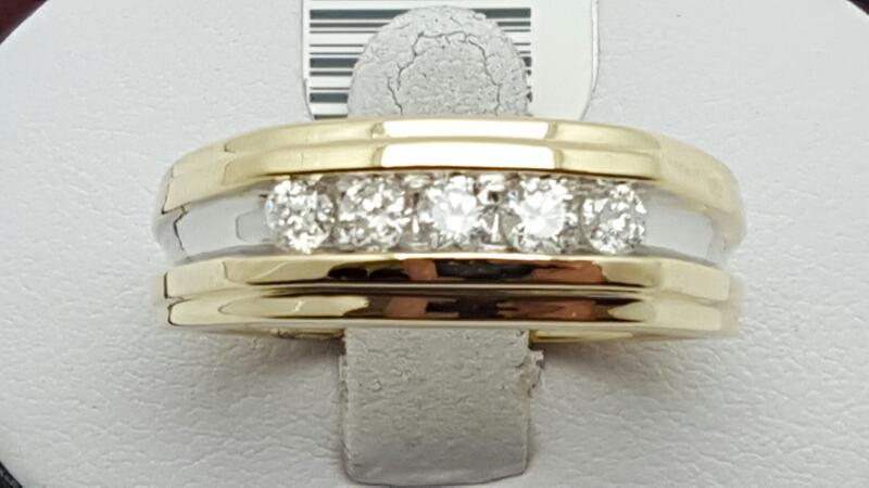 Gent's Diamond Fashion Ring 5 Diamonds .60 Carat T.W. 10K Yellow Gold 6.7g
