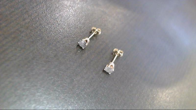 Gold Diamond Earrings 2 Diamonds .26 Carat T.W. 14K Yellow Gold 0.4g
