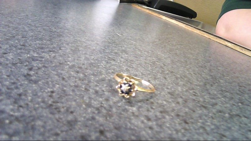 Blue Stone Lady's Stone Ring 10K Yellow Gold 1.1g