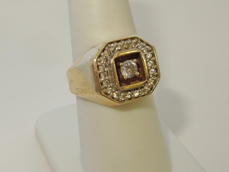 Gent's Diamond Fashion Ring 23 Diamonds .64 Carat T.W. 14K Yellow Gold 8.9g