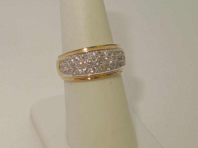 Lady's Diamond Cluster Ring 44 Diamonds 1.12 Carat T.W. 14K 2 Tone Gold 5.3g