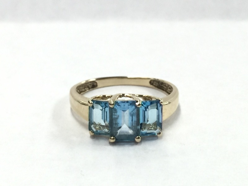 BLUE STONE Blue Stone Lady's Stone Ring 10K Yellow Gold 1.2dwt Size:7.5