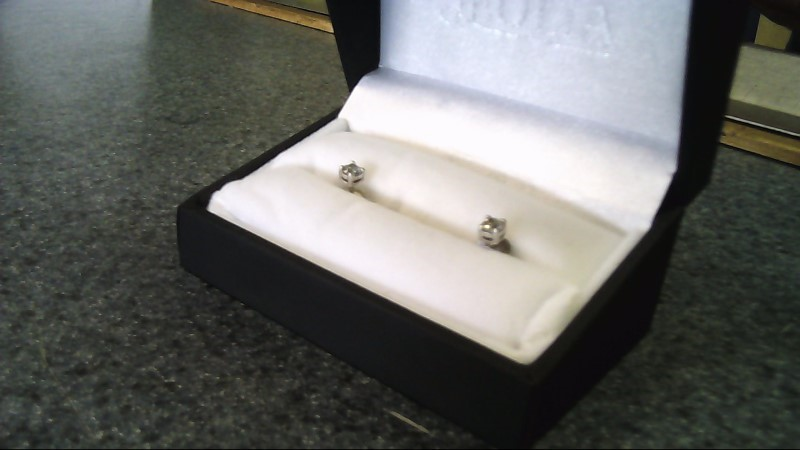 Silver-Diamond Earrings 2 Diamonds .60 Carat T.W. 925 Silver 0.5g