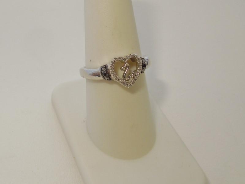 Black Stone Lady's Silver-Diamond & Stone Ring 26 Diamonds .26 Carat T.W.