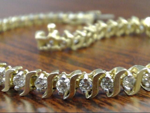 """VINTAGE 49 NATURAL DIAMOND TENNIS BRACELET SOLID REAL 10K GOLD 9g 7"""""""