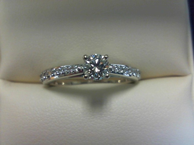 Lady's Diamond Solitaire Ring 19 Diamonds .53 Carat T.W. 10K White Gold 2dwt