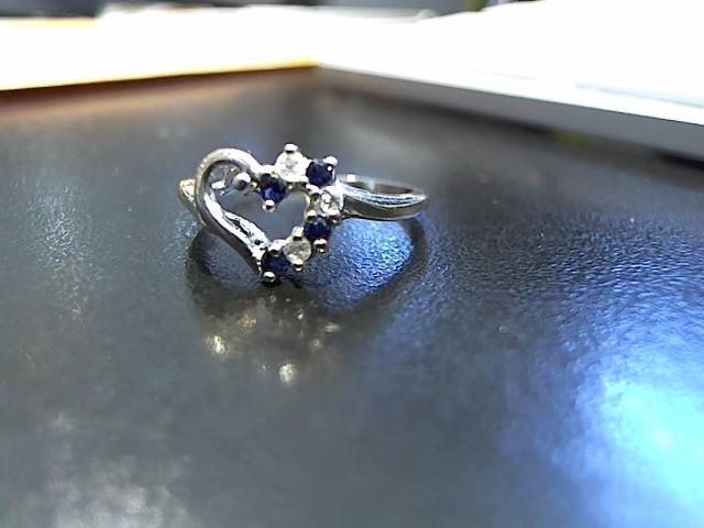 Blue Stone Lady's Stone & Diamond Ring 3 Diamonds .03 Carat T.W. 10K White Gold