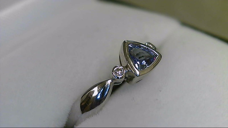 Synthetic Tanzanite Lady's Stone & Diamond 14K White Gold Ring