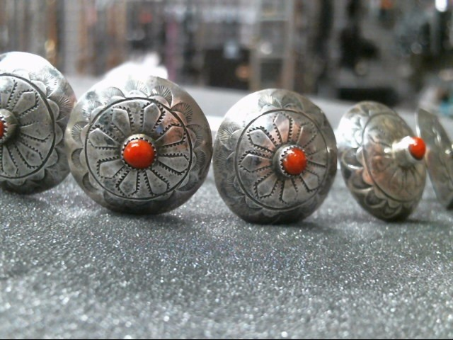 STERLING AND CORAL BUTTONS 6 EA