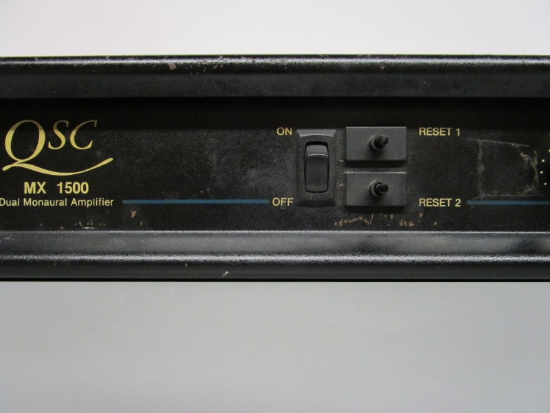 QSC MX 1500 DUAL MONAURAL AMPLIFIER, FOR PARTS OR REPAIR