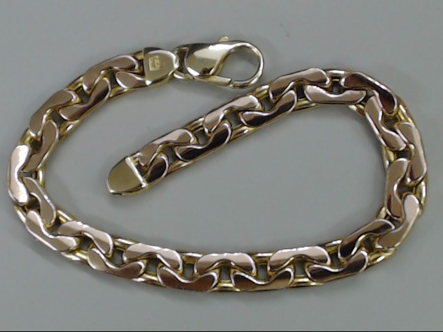 ESTATE OPEN LINK 14K ROSE GOLD BRACELET AURAFIN ITALY CURB CUBAN