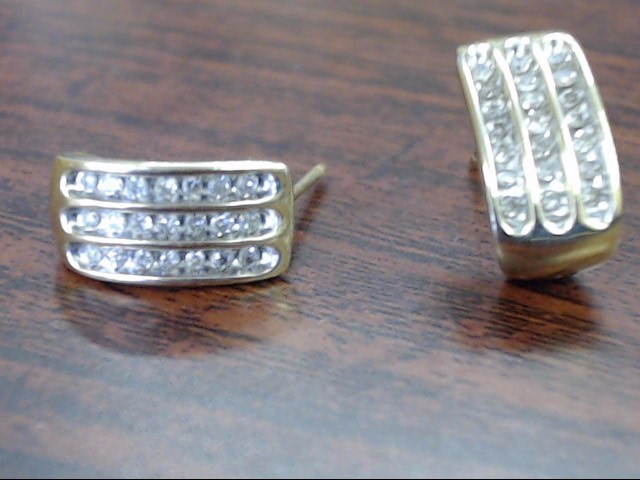 Gold-Diamond Earrings 42 Diamonds .42 Carat T.W. 10K Yellow Gold 2.5g