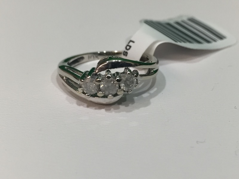 Lady's Diamond Fashion Ring 3 Diamonds .30 Carat T.W. 10K White Gold 1.7g