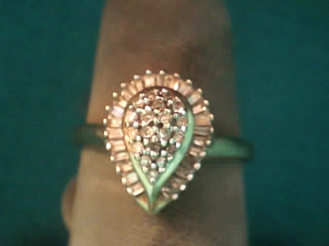 Lady's Diamond Cluster Ring 42 Diamonds .335 Carat T.W. 10K Yellow Gold 1.7dwt