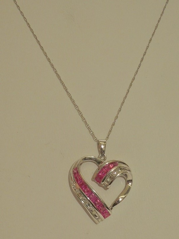 Pink Stone Stone Necklace 10K White Gold 3g