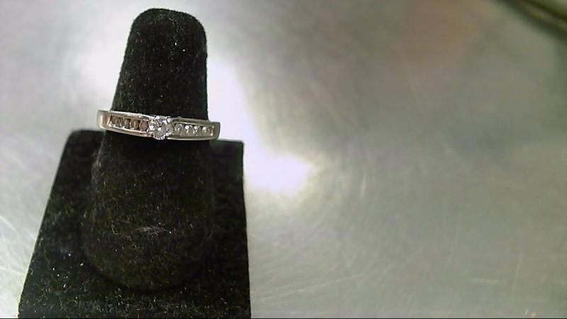 Lady's Diamond Cluster Ring 9 Diamonds .23 Carat T.W. 10K White Gold 2.2g