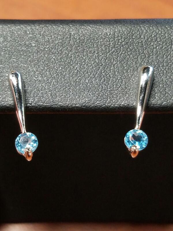 Synthetic Blue Topaz Gold-Stone Earrings 14K White Gold 1.4dwt