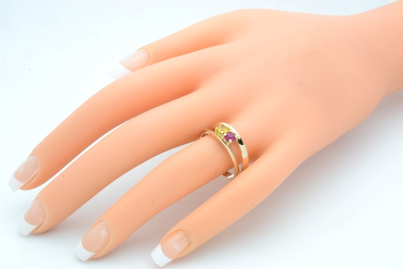 MIX GEM RING SOLID 10K GOLD YELLOW RED MOTHER BIRTH STONE SIZE 9