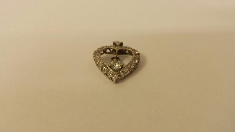 14k White Gold Heart with 19 Diamonds at .34ctw - .8dwt