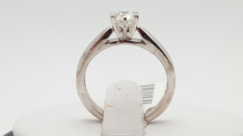 Lady's Diamond Solitaire Ring .50 CT. 14K White Gold 3.4g Size:5.5