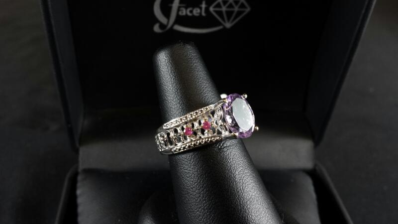 Oval Round Pink Sapphire sz 7 Lady's Silver & Stone Ring 925