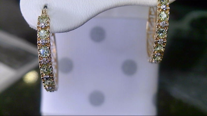 August Birthstone Peridot and Diamond 14K Yellow Gold Hoop Earrings
