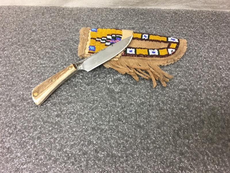 """Fixed Blade Pocket Knife - Handmade Beaded Sheath - 3.5"""" Blade"""