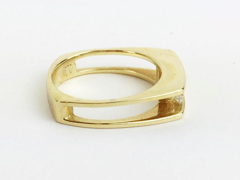 Multi Diamond Ring w 3 Diamonds .45 Carat T.W. 18K Yellow Gold 4.66g