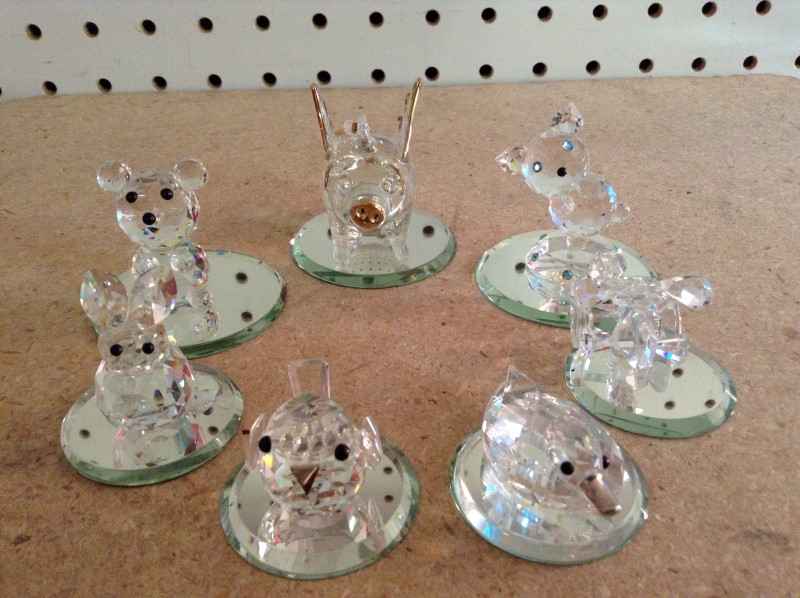 CRYSTAL FIGURINES Collectible Plate/Figurine LOT OF 7