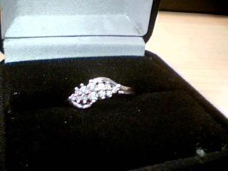 Lady's Diamond Cluster Ring 12 Diamonds .26 Carat T.W. 14K White Gold 3.1g