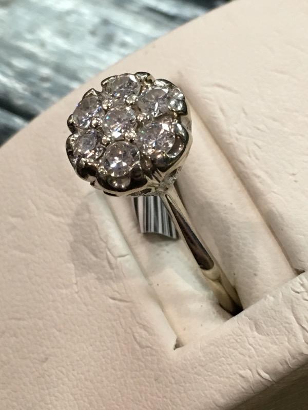 Lady's Diamond Cluster Ring 7 Diamonds .49 Carat T.W. 10K White Gold 2.7dwt