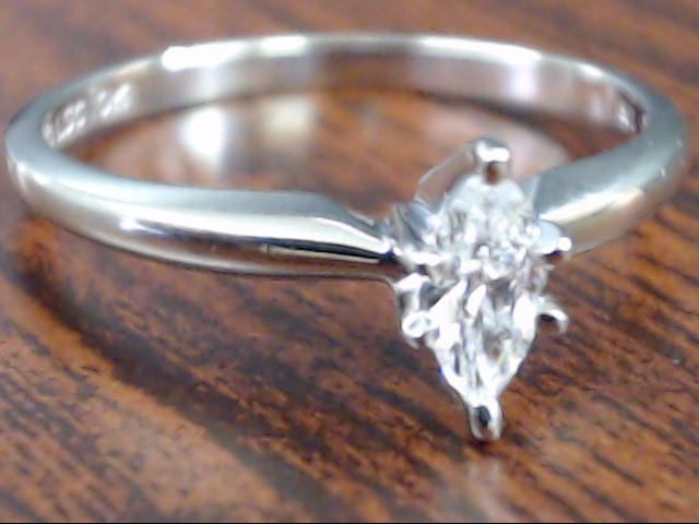 VINTAGE MARQUISE NATURAL DIAMOND ENGAGE WED RING 10K WHITE GOLD 6.75