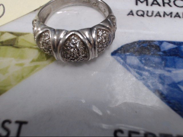 White Stone Lady's Silver & Stone Ring 925 Silver 4g