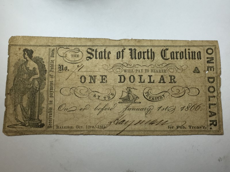 1866 ONE DOLLAR STATE OF NORTH CAROLINA OBSOLETE BANK NOTE