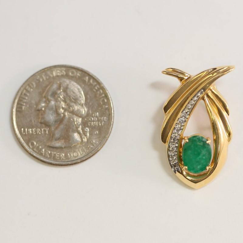 Unique 14K Yellow Gold Emerald and Channel Set Diamond Pendant