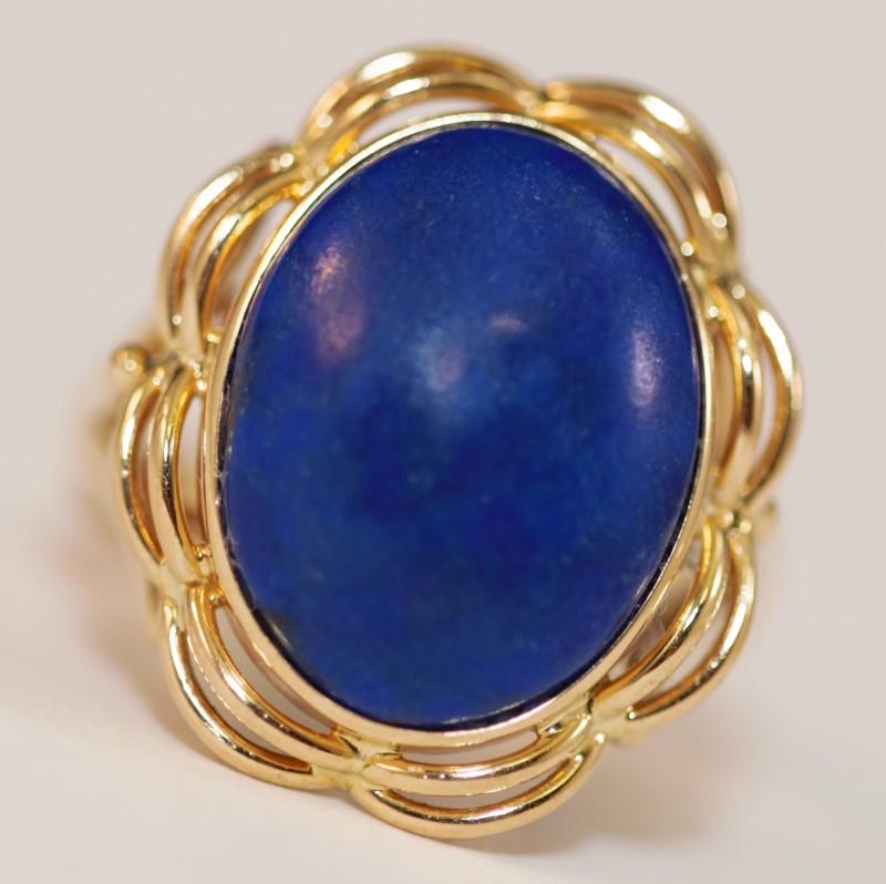 Cobochon Cut Lapis Stone 14K Yellow Gold Statement Ring Size 7