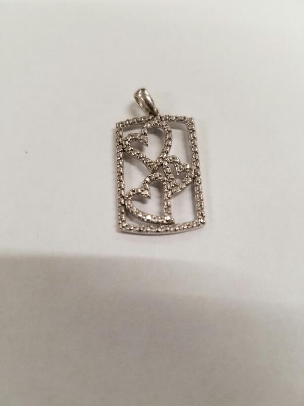 Gold-Diamond Solitaire Pendant .01 CT. 10K White Gold 1.87g