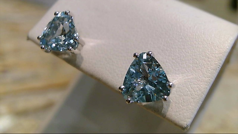 Synthetic Aquamarine Gold-Stone Earrings 14K White Gold 2.2g
