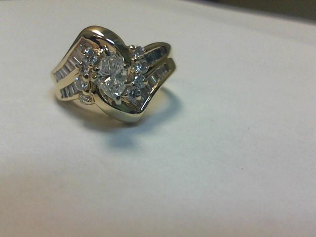 Lady's Diamond Engagement Ring 33 Diamonds .74 Carat T.W. 14K Yellow Gold