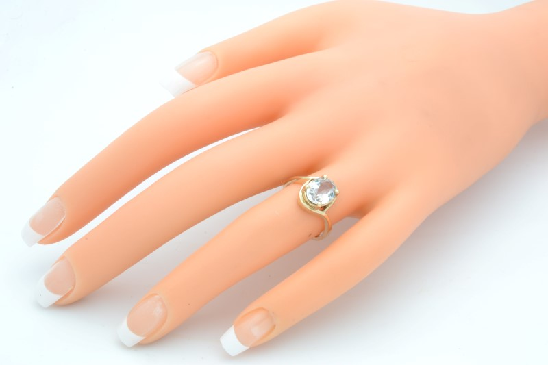 ESTATE WHITE STONE RING SOLID 10K GOLD ENGAGEMENT OVAL CUT SIZE 5.75